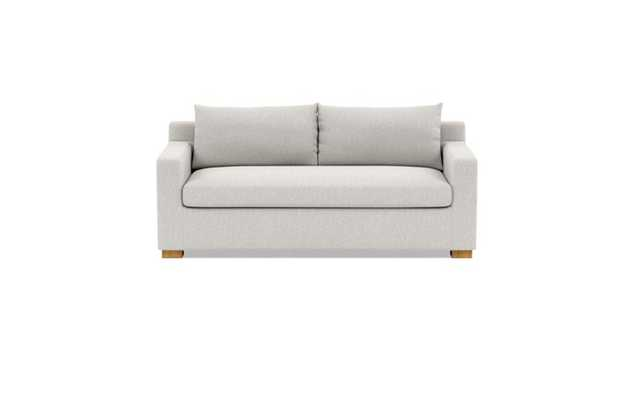 Sloan Sleeper Sleeper Sofa with Beige Pebble Fabric, down alternative cushions, and Natural Oak legs - Interior Define
