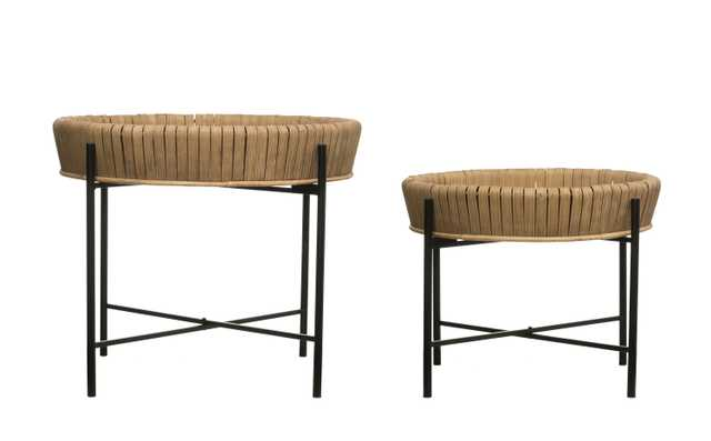 Bamboo Wrapped Tray Tables with Removable Trays & Metal Legs (Set of 2 sizes) - Moss & Wilder