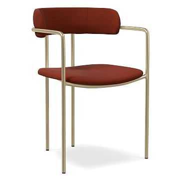 Lenox Dining Chair, Distressed Velvet, Rust, Light Bronze - West Elm