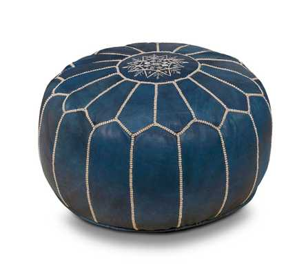 Nadia Moroccan Leather Pouf, Indigo - Pottery Barn