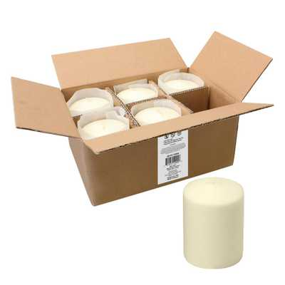 Stonebriar Collection Unscented 3 x 4 Ivory Pillar Candle, Set of 6 - Home Depot