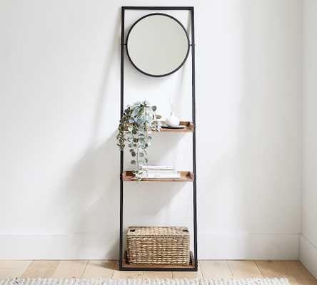 Trenton Ladder Shelf With Mirror, Bronze Metal/Rustic Wood - Pottery Barn