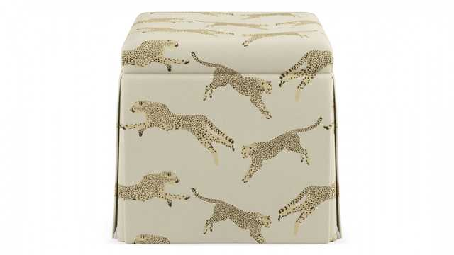 Skirted Storage Ottoman | Desert Cheetah - The Inside