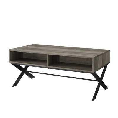 Michela Cross Legs Coffee Table with Storage - Wayfair