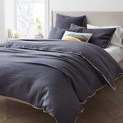 European Linen Pom Pom Duvet, Full/Queen Duvet Cover, Iron Blue - West Elm