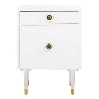 Harry 2 Drawer  Side Table Color: White - Perigold