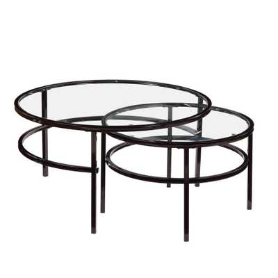 Boyel Living Elegant Black Nesting Round Coffee Table Set Glass Table (2-Piece) - Home Depot