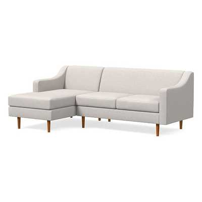 Olive Sectional Set 05: Olive Standard Back Swoop Arm Right Arm Sofa, Olive Standard Back Swoop Arm Left Arm Chaise, Poly, Performance Coastal Linen, Stone White, Pecan - West Elm