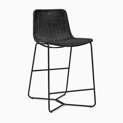 Slope Outdoor Counter Stool, All Weather Wicker, Charcoal - West Elm