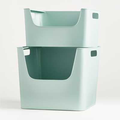 Large Mint Metal Stacking Storage Bin - Crate and Barrel