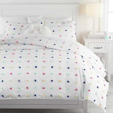 Tufted Dot Duvet Cover, Full/Queen, White Multi - Pottery Barn Teen