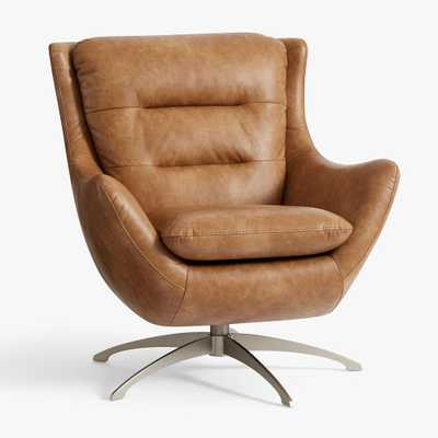 Vegan Leather Caramel Lennon Lounge Chair - Pottery Barn Teen