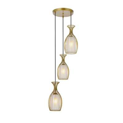 ELEGANT FURNITURE & LIGH Timeless Home Marisa 3-Light Pendant in Brass with 6.7 in. W x 12.8 in. H Shade - Home Depot