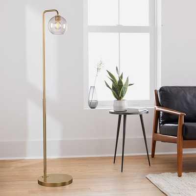Sculptural Floor Lamp, Globe Mini, Clear, Antique Brass - West Elm
