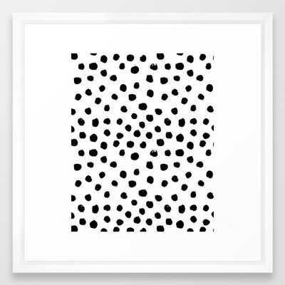 Preppy Black And White Dots Minimal Abstract Brushstrokes Painting Illustration Pattern Print Framed Art Print by Charlottewinter - Vector White - MEDIUM (Gallery)-22x22 - Society6