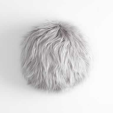 "Furrific Round Pillow, 14"" Round, Himilayan Gray - Pottery Barn Teen"