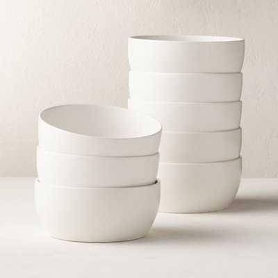 Crisp Matte White Soup Bowls Set of 8 - CB2