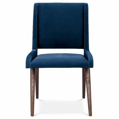 Mid Century Upholstered Dining Chair Upholstery Color: Indigo Blue, Leg Color: Dark Walnut - Perigold