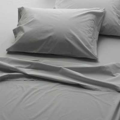 WELHOME The Super Soft Washed Cotton Percale Graphite King Sheet Set, Grey - Home Depot