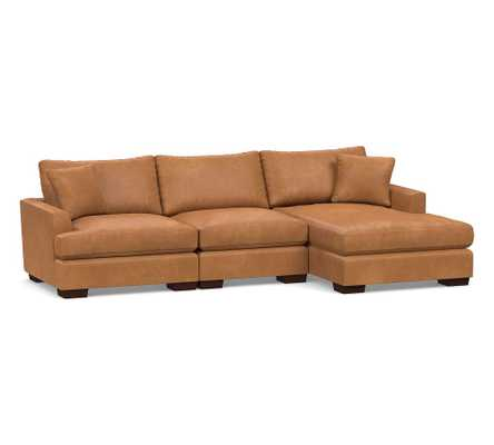 Sullivan Fin Arm Leather Deep Seat Left Arm Sofa with Chaise Sectional, Down Blend Wrapped Cushions, Churchfield Camel - Pottery Barn