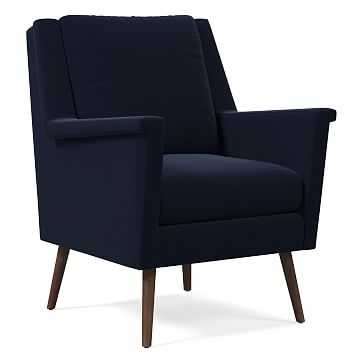 Carlo Mid-Century Chair, Poly, Distressed Velvet, Ink Blue, Pecan - West Elm