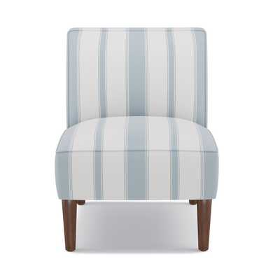 Slipper Chair | French Blue Clarence Stripe - The Inside