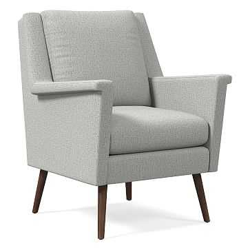 Carlo Mid-Century Chair, Poly, Deco Weave, Feather Gray, Pecan - West Elm