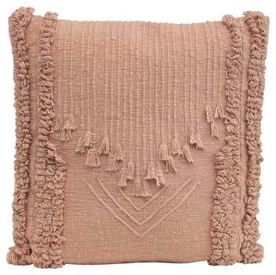 Square Cotton Embroidered Pillow with Looped Stripes & Decorative Front Tassels - Nomad Home