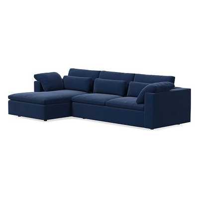 Harmony Modular Sectional Set 09: Right Arm Sleeper Sofa & Left Arm Storage Chaise, Down, Performance Velvet, Ink Blue - West Elm