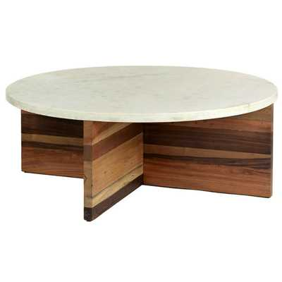 Dustin Modern Classic White Marble Top Wood Round Coffee Table - Kathy Kuo Home