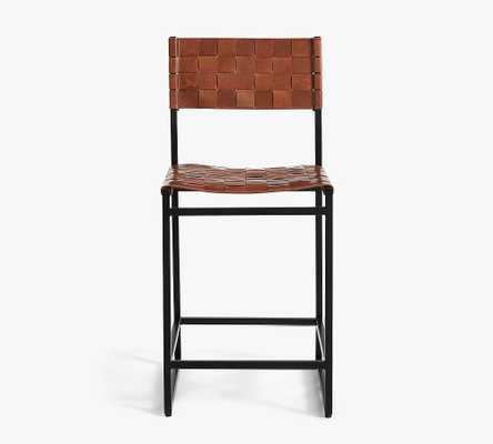 Hardy Woven Leather Counter Stool, Bronze/Saddle Tan Leather - Pottery Barn