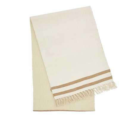 Fairfax Rustic Striped Jute Table Runner - Neutral - Pottery Barn