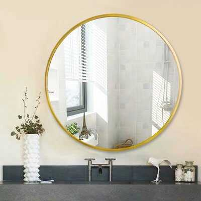 32 Inch Classic Metal Frame Circle Mirror,With An Alloy Metal Sleek Frame, Floating Round Glass Panel,Black - Wayfair