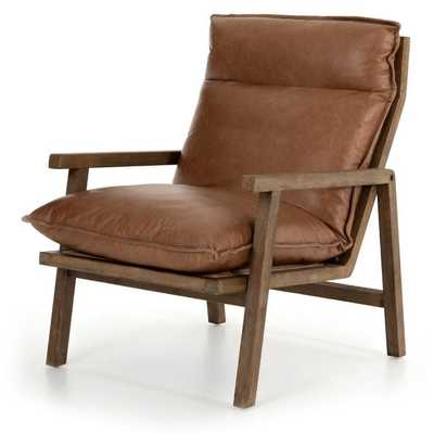 Sage Modern Classic Brown Leather Wood Arm Chair - Kathy Kuo Home