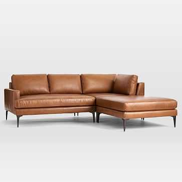 Andes Sectional Set 04: Left Arm 2 Seater Sofa, Corner, Ottoman, Vegan Leather, Saddle, Dark Pewter, Poly - West Elm