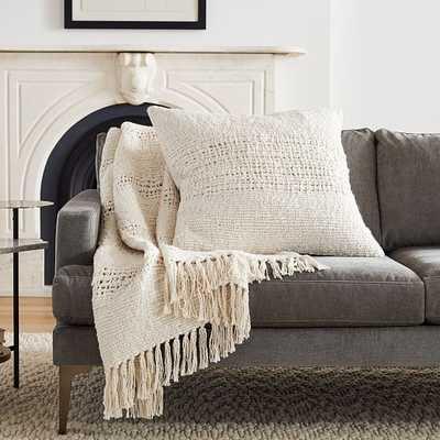 Cozy Weave Pillow + Throw Set - Stone White - West Elm
