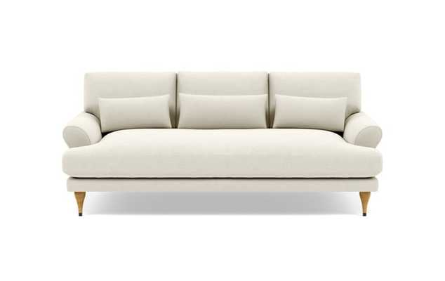 "Maxwell 74"" Loveseats with White Chalk Fabric and Natural Oak with Antique Cap legs - Interior Define"