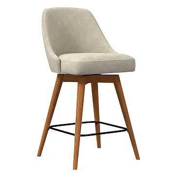 Mid-Century Upholstered Swivel Counter Stool, Distressed Velvet, Light Taupe, Pecan - West Elm