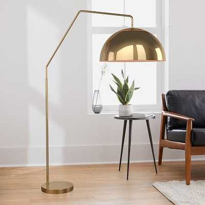 Sculptural Overarching Floor Lamp, Metal Large, Brass Antique Brass - West Elm