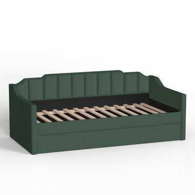 Upholstered Twin Daybed With Trundle, Green - Wayfair