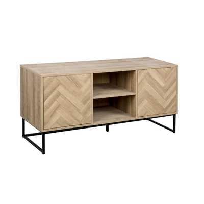 Nathan James Dylan Media Console Cabinet TV Stand with Hidden Storage Herringbone Pattern Wood Metal, Oak/Black - Home Depot