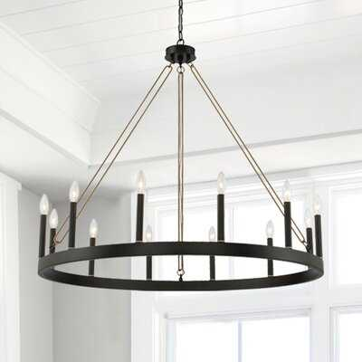 12 - Light Candle Style Wagon Wheel Chandelier with Wood Accents - Wayfair