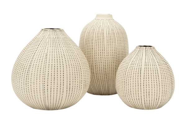 White Stoneware Vases with Textured Black Polka Dots (Set of 3 Sizes) - Nomad Home