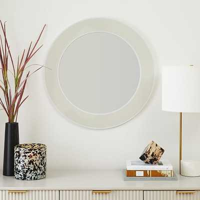 """Lucy Lacquer Mirrors, Round, Sand & White, Lacquer, 30 """" Diameter - West Elm"""