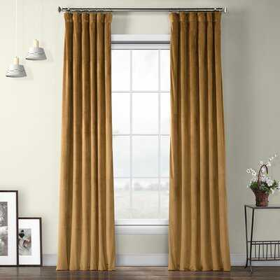 Bagwell Velvet Solid Color Room Darkening Thermal Rod Pocket Single Curtain Panel - Birch Lane