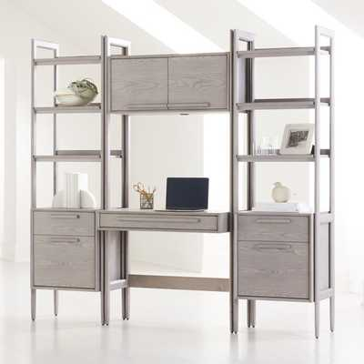 Tate Stone Bookcase Desk with Power and 2 Bookcase File Cabinets - Crate and Barrel