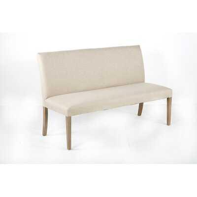 Megan Long Bench - Grey Washed Upholstered In Biscuit - Wayfair
