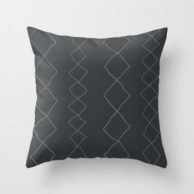 "Moroccan Diamond Stripe In Charcoal Couch Throw Pillow by Becky Bailey - Cover (20"" x 20"") with pillow insert - Outdoor Pillow - Society6"