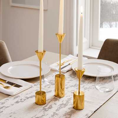 Hammond Candlelight, Taper Holder, Polished Brass, Set of 3 - West Elm