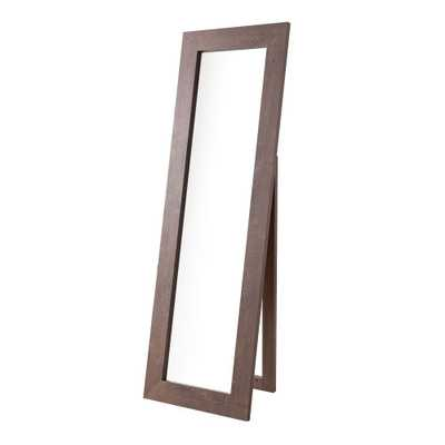 Benjara 72 in. H x 1 in. W Rectangular Brown and Silver Wooden Framed Freestanding Accent Mirror - Home Depot